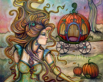 Cinderella - Fairy Tale Fantasy Art - Fine Art Giclee Print by Molly Harrison 5 x 7 - Fairytale, princess, artwork