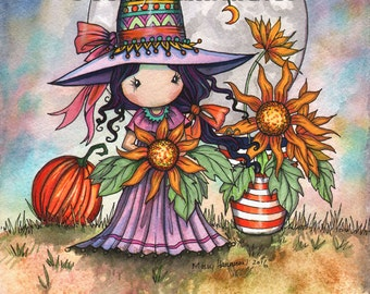 Whimsical Sunflower Witch - Cute Halloween Witch - Art Giclee Print by Molly Harrison 8 x 10 - witches, wiccan, fall, autumn