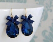 SALE Royal Blue Enamel Bow Rhinestone Pear Earrings