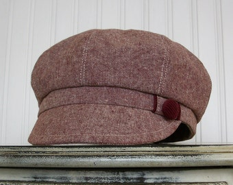 Womens Newsboy Hat- Maroon Linen Hat - Newsboy Cap - Womens Hats -Linen Newsboy Hat -M