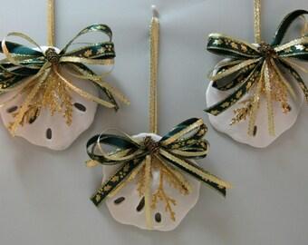Christmas Decorations, SEASHELL ORNAMENTS, Faux Sand Dollar Shell,  Nautical Christmas Decorations, Christmas Ornaments Set of 3
