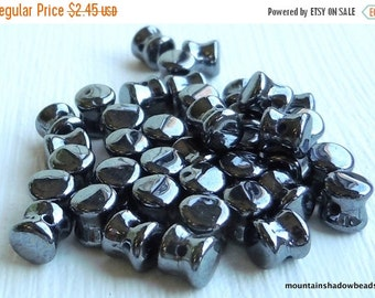 Fall Clearance Czech Glass Bead - Hematite 6mm Pellet Bead - 40 pcs (G - 6)