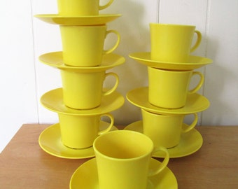 8 vintage yellow melmac cup and saucers by Texas Ware