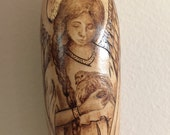 Angel with Dove ornament Medieval or Renaissance Style gourd
