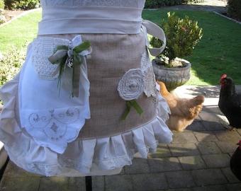 Womens Aprons - Rustic Lace Aprons - Shabby Chic Aprons - Cottage Chic Aprons - BoHo Aprons - Annies Attic Aprons - Linen Like Fabrics