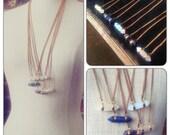 Double Terminated Quartz Crystal point Pendant Necklace  Geometric Brass - Crystal Magic -  Healing Heart Stone - Lapis Lazuli