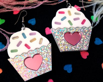 Cupcake and Sprinkles Laser cut Acrylic Earrings