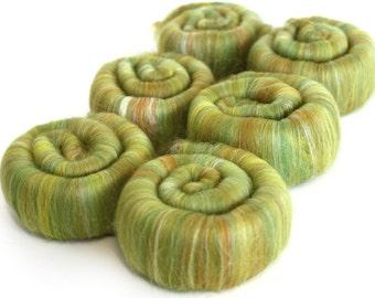 Punis Rolags - Merino & Silk Fields of Gold Merino Wool Silk 100g