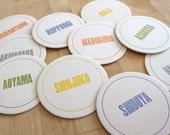 TOKYO Letterpress Neighborhood Coasters (Pack of 10)