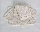 Cotton Knitted Dishcloths Washcloths Facecloths, 8 inch Bias Cloths, Set of 20 in Natural Off-White