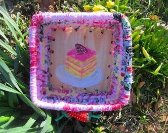 BAKERY SHOPPE SERIES  textile art Basket tray box  Strawberry Lemon Cake