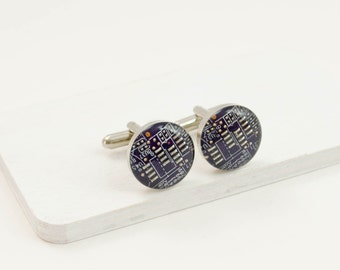 Violet Circuit Board Cufflinks - Recycled Motherboard Jewelry - Geeky Wedding Accessories - Nerd Fathers Day Gift