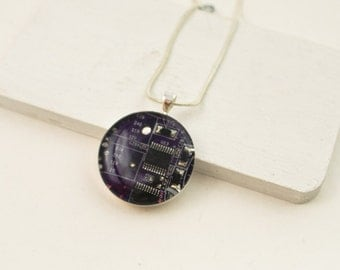 Circuit Board Necklace Purple - Recycled Computer Jewelry - Scientist Necklace - Geeky Gift