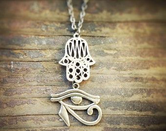 Hamsa Hand and Eye of Horus necklace