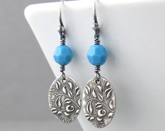 Turquoise Earrings Sterling Silver Drop Earrings Small Dangle Earrings Handmade Jewelry Bohemian Jewelry Crystal Jewelry - Tracey