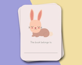 Bookplate - 12 x Bookplate stickers - Rabbit back-to-school, labels