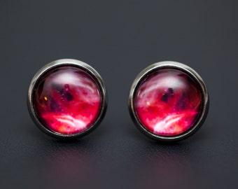 Nebula no. 08 Stud Post Earrings, Space Jewelry, Space Necklace, Wearable Art, Nebula Jewelry, Galaxy Jewelry, Cosmic Jewelry