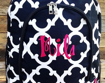 Black and White Vine Backpack Monogrammed Name or Initials of Your Choice