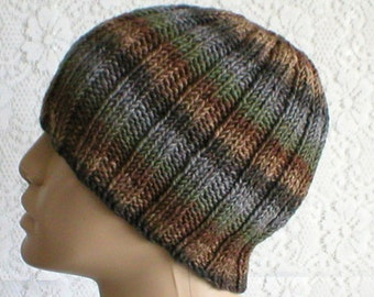 Ribbed beanie hat, grey taupe brown green, striped hat, skull cap, biker runner hiking, skateboard, knit toque, ski shred, mens womens hat