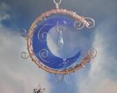 Stained Glass Moon, Garden Sculpture, Copper Art, Blue Moon, Celestial, Wall Hanging, Crescent Moon, Sun Catcher, Ornament, Moon Garden