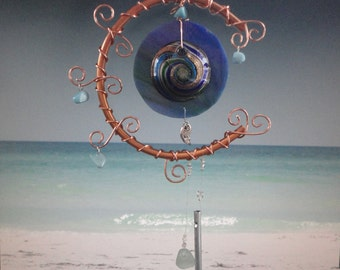 """Stained Glass Wind Chime, Sea Glass, Beach Decor, Garden Sculpture, Earth and Moon, Ocean, Copper Moon, Mobile, Wall Hanging, """"Rising Tides"""""""