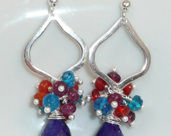 Lapis Dreams - lapis, neon apatite, red spinel, Mexican fire opal and sterling silver earrings