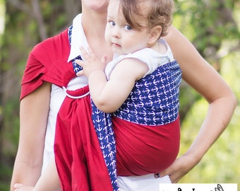 Sewfunky Designer Adjustable Baby Sling certified organic cotton Anchored in Love