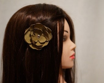 Recycled Leather Flower Clip for Hair, Hat or Lapel