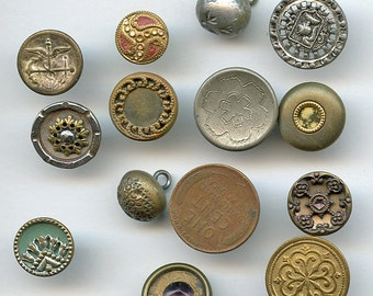Lot of Victorian Metal Buttons Wholesale Bakers Dozen (13) Small Antique MORE AVAILABLE 2003