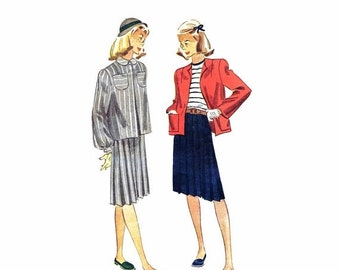 SALE 1940s Teens Skirt Jacket Suit Simplicity 1854 Vintage Sewing Pattern Size 12 Bust 30 UNCUT