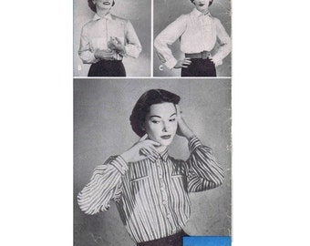 SALE 1950s Womens Front Button Blouse Vintage Sewing Pattern Womans Day 5002 Ruffled Plastron Blouse Size 14 Bust 32 UNCUT