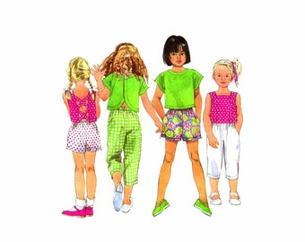 Girls Pants Short Top Simplicity 7834 Vintage Sewing Pattern Size 5 - 6 - 6X UNCUT