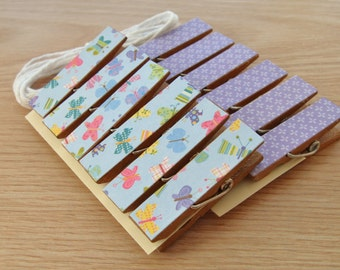 Butterfly Meadow and Purple  Clips w Twine for Photo Display - Chunky Little Clothespin Set of 12