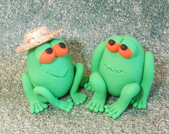 Sale was 14.95;Bug eyed pair of green funny Frogs: figurine collectible