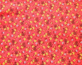 Tomato red calico type floral fabric yellow and black flowers vintage