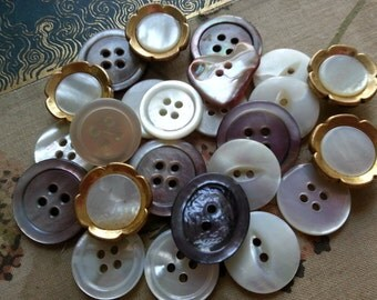 Lovely Shell Buttons Assorted Vintage.