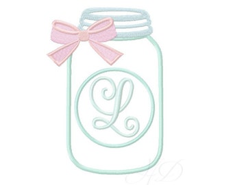 Mason Jar Applique Embroidery Design with Bow Circle Applique Font Machine Embroidery Font Instant download 4x4 5x7 6x10 BX PES All Formats