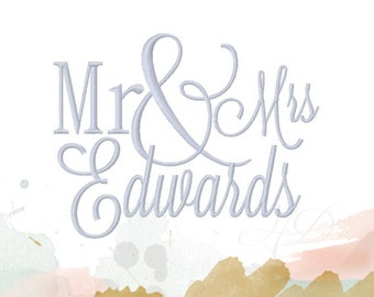Mr & Mrs Embroidery Font Set for Pillow Cover or towel Embroidery Design 4x4 5x7 6x10 BX instant download