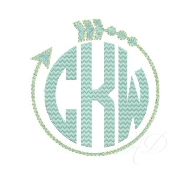 Arrow embroidery design frame monogram machine