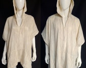Spirit World Poncho© in Sheer Striped Gauzy Cotton Weave, Festival Clothing, Caftan, Cover Up