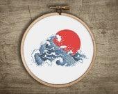 asian tsunami modern cross stitch pattern ++ vintage retro japanese ++ pdf  INsTAnT DOwNLoAD ++ diy ++ ocean waves ++ handmade design