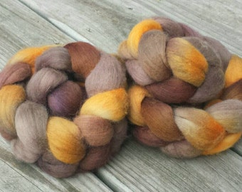 NEW Hand Dyed Merino Combed Top Wool Roving for Spinning - Yarn Hollow Coffee Multi Color - orange, yellow, brown, mocha, golden, honey