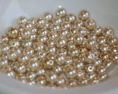 6mm Glass CHAMPAGNE Pearl Coated Round Beads (100) RD27