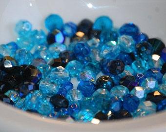 6mm AQUA BLUE MIX Faceted  Fire Polish Beads (95) FIRE18