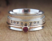 Gold Spinner Ring Birthstone Personalized Ring Sterling Silver Jewelry Hand Stamped Ring