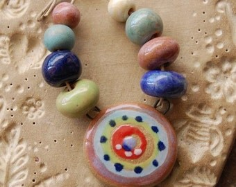 Funky Tribe / Ceramic Pendant and Bead Set