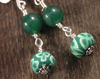 White flowers on green polymer clay beads, aventurine stone and silver handmade earrings