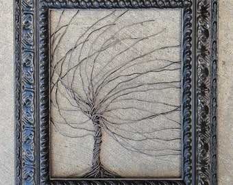 Original Unique Art Object Large Tree Abstract Sculpture ... Wire trees in heavy ornate shabby style Victorian black frame