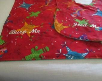 Baby bib burp pad set, Fiesta print, Baby bib, burp pad, boys, girls, babies, newborns, red, green, shower gift, infants