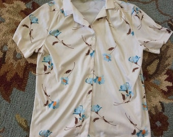 Vintage 1960s 1970s Sears polyester floral blouse